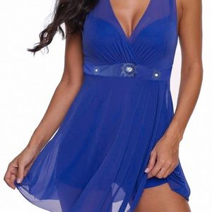 Rotita Women's Blue V Back Swim Dress And Shorts